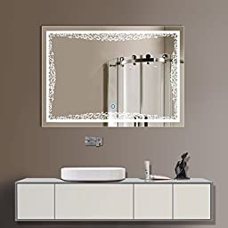 3224 in Horizontal LED Bathroom Silvered Mirror with Touch Button (D-N011)