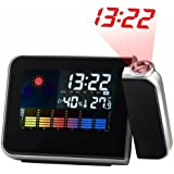 【ノーブランド品】 置き時計 目覚まし時計 温湿度表示あり カラースクリーン LEDバックライト プロジェクター搭載 天気・温度計・カレンダー機能付[ACアダプタなし] ブラック