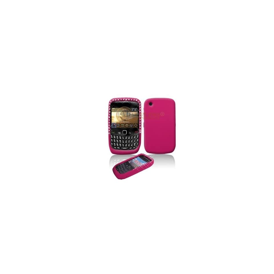 Pink with Diamond Rhinestone Soft Silicone Skin Gel Cover Case for Blackberry 8520