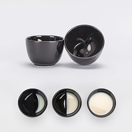 月の満ち欠けを味わえる風情のある杯 酒月ムーングラス 【Moon glass Black (L) 2個セット】 獨酒,甘酒,マッコリなどにどうぞ