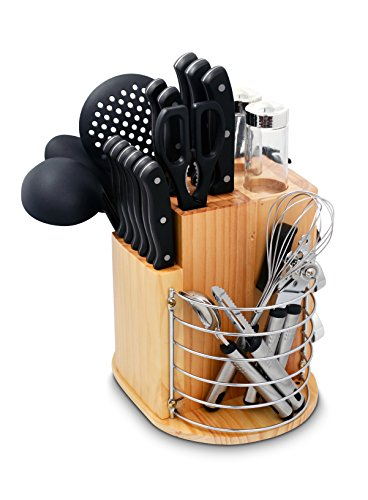 Ragalta PLCKS-200B 31-Piece Cutlery Knife Set with Gadgets and Rotating Caddy, Black