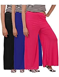 Womens Plazzo Combo Of 3 (Black,Dark Blue And Pink)
