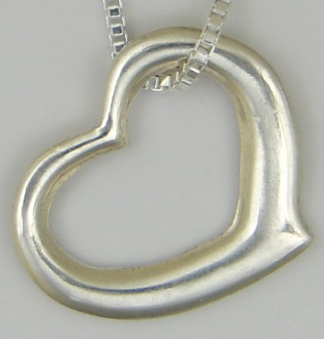 Sterling Silver Floating Heart Necklace ...Very Sweet!