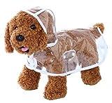 【全5色】 雨 でも お 散歩 犬 用 レイン コート クリア 透明 なので インナー 見せで 重ね着 も S M L XL (クリア, M)