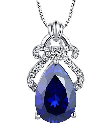 Echte blaue Saphir 925 Sterling Silber Anhanger 5 Karat Charm Halskette Schmuck