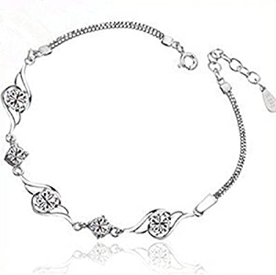 Revenne Jewelry Swarovski Elements Simple Silver Chain With Water Diamond Inlay Bracelet R127