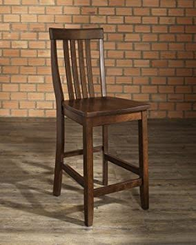 crosley furniture school house bar stool vintage mahogany with 24inch seat height