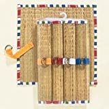 Patio Stripe Straw and Fabric Placemats with Napkin Rings - Set of 4