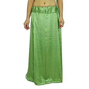Green Saree Petticoat Satin Silk Underskirt Lining for Sari: Clothing