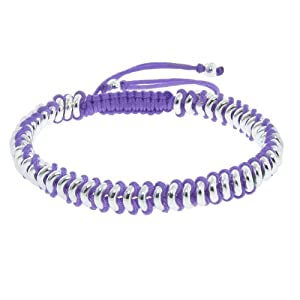 Silver Plated High Polished Linked Purple Macramé Bracelet
