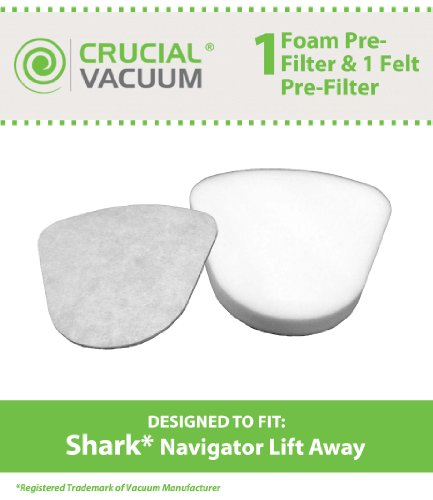 Shark Navigator Lift-Away NV350, NV351, NV352, NV355, NV356, NV356E, NV357 Washable Foam and Felt Pre-Filter Replacement Kit 2-Pack; Replaces Shark Part# XFF350