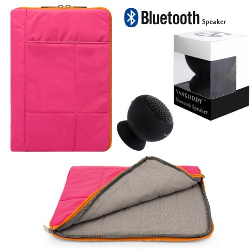 "Travel Soft Anti Scratch Carrying Sleeve For Amazon Kindle Fire Hd Hdx 8.9"" Tablet+ Pink Bluetooth Suction Speaker"