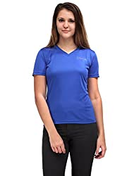 Oleva Ladies V Neck Blue T-shirt OTS-3-Blue M