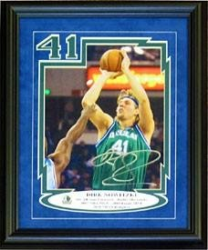 Dirk Nowitzki Signed Photograph - Framed 8X10 - Autographed Nba Photos