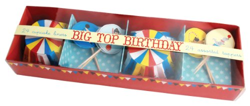 Party Partners Design Retro Big Top Circus Themed Cupcake Kit With Baking Cups And Toppers, Blue/Red, 24 Count front-783745