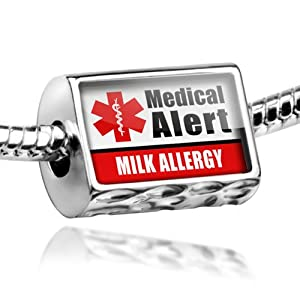 "Neonblond Beads Medical Alert Red ""Milk Allergy"" - Fits Pandora Charm Bracelet from NEONBLOND Jewelry & Accessories"
