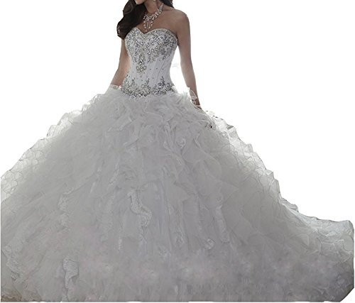 af040459904a FashionStreets Sweet 16 Dresses Ruffles Crystal Quinceanera Gowns (US 4,  White)