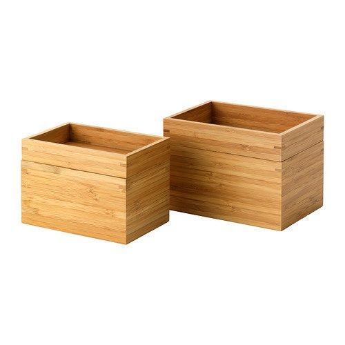 IKEA DRAGAN, 2 Bambus-Kästchen (für Schmuck, Kosmetik...)