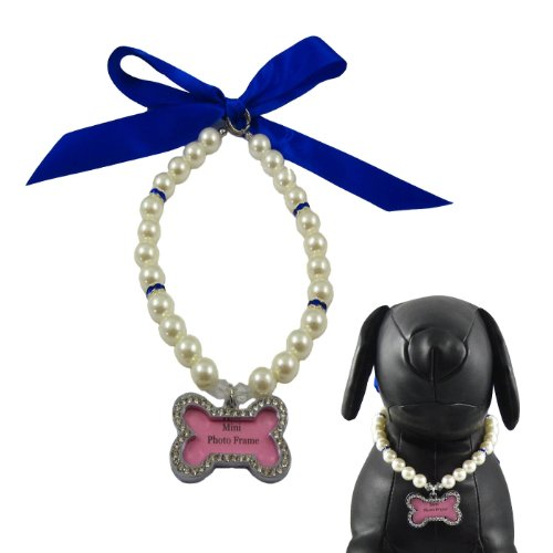"""Alfie Couture Designer Pet Jewelry - Sue Pearl Necklace With Mini Photo Frame Charm - Color: Blue, Size: S (10""""-12"""") For Dogs And Cats"""