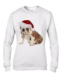 Bulldog With Santa Claus Hat Christmas Women's Sweatshirt \ Jumper by Tribal T-Shirts