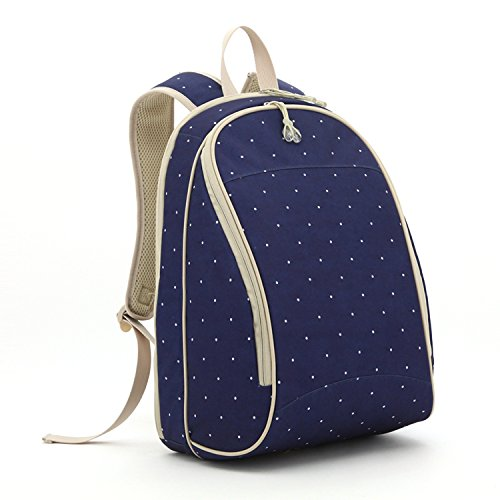 sleeping lamb baby travel backpack diaper bag with changing pad 5 pieces set navy dot luggage. Black Bedroom Furniture Sets. Home Design Ideas