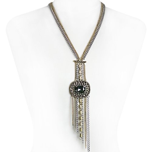 Tallulah Khaki Crystal Fashion Necklace