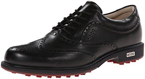 Ecco 141514 Men´s Golf Tour Hybrid Herren Golfschuh aus edlem Leder mit E-DTS Hybrid Sohle und Hydromax, schwarz (black/brick), EU 43