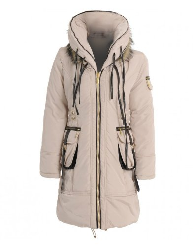 Women's Stone Padded Coat With PU Cord Trim