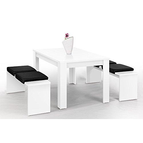 Lbeck-Bank-Set-wei-mit-1-Tisch-140-x-90-cm-und-2-Bnken--130-x-37-cm