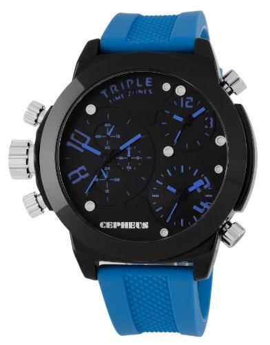 CEPHEUS - CP902-623 - Montre Homme - Quartz Analogique - Bracelet Silicone Bleu