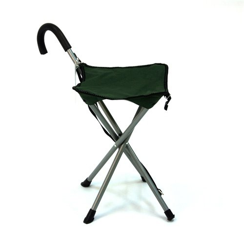 Folding cane chair - Walking stick with tripod stool hive the