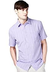 "2"" Longer Soft Touch Space-Dye Striped Shirt"