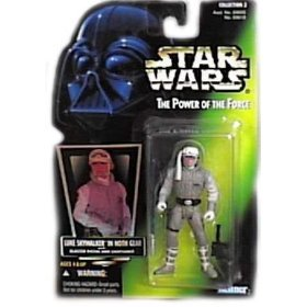 "Star Wars Power of the Force Tri-Logo Green Card 3 3/4"" Luke Skywalker in Hoth Gear Action Figure"