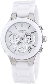 DKNY NY4912 white chrono dial ceramic bracelet women watch NEW