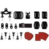 Action Cam Halterung - Kompatibel mit GoPro Hero 1 - 2 - 3 - 3+ 4 Halterungsset für Sportkameras - Montage Set aus 24 Elementen