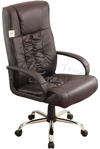 High Back PU Leather Chrom Base Brown Color Office Chair o15 BN