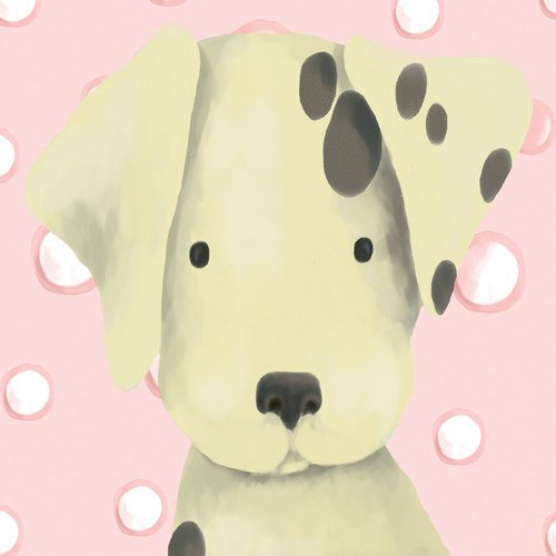 Oopsy Daisy Radley The Dalmatian Powder Pink Stretched Canvas Wall Art by Meghann O'hara