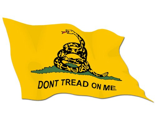Waving Don'T Tread On Me Flag Sticker (Gadsden Tea Party)