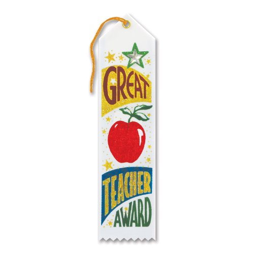"Great Teacher Award Jeweled Ribbon 2"" x 8"" Party Accessory - 1"