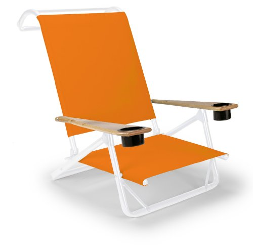 Telescope Casual Original Mini-Sun Chaise Folding Beach Arm Chair With Cup Holders, Tangerine With Gloss White Frame (Discontinued By Manufacturer)