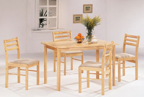 Maple Finish 5 Piece Dining Set By Coaster Furniture