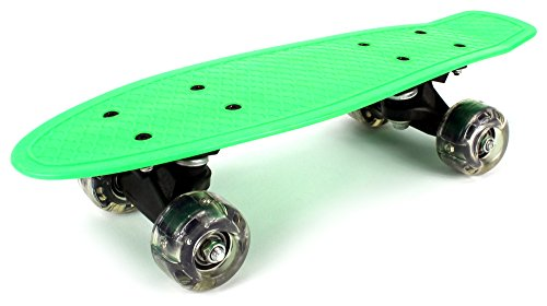 "Lightweight Mini Cruiser Complete 16"" Inch Banana Skateboard w/ Light Up Wheels, High Quality Bushings, ABEC-7 Bearings (Green)"
