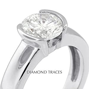 3.01 Carat Round Natural Diamond AGI Certified D-IF Excellent Cut Platinum 950 Bezel Setting Tension Style Solitaire Engagement Ring