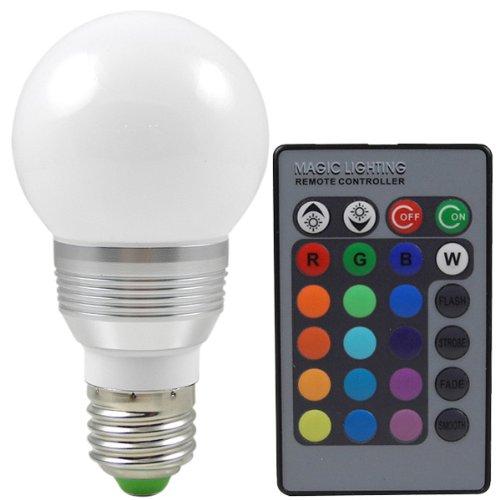 MENGS® E27 3W LED RGB Lampe Birne SMD LEDs LED farbwechsel Globeform Licht mit IR-Fernbedienung (220lm, AC 85 - 265V, 60 X 114mm) - 16 multicolors inklusive - Ferbedienung Licht