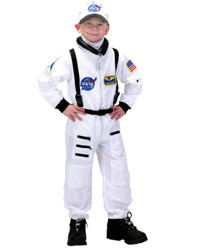 Boys Deluxe White Nasa Junior Astronaut Suit Costume AND Accessories ( Medium )