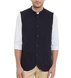 Hypernation Navy Blue Color Cotton Waistcoat For Men