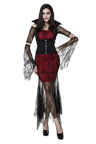 Sexy Halloween Punk Queen Bloody Vampire Bride Witch Spider Lace Costume Dress