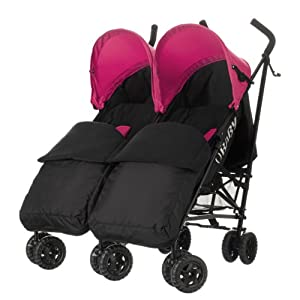 Obaby Apollo Black/Grey Twin Stroller and Black Footmuffs (Pink)