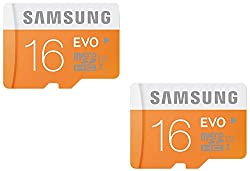 Samsung Evo MB-MP16D/IN Class 10 48Mbps 16GB Memory Card, Pack Of 2 (White & Orange)