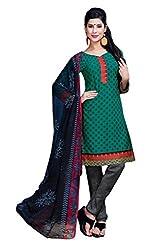 CRAFTLIVA Rama Green & Grey Printed Crepe Dress Material